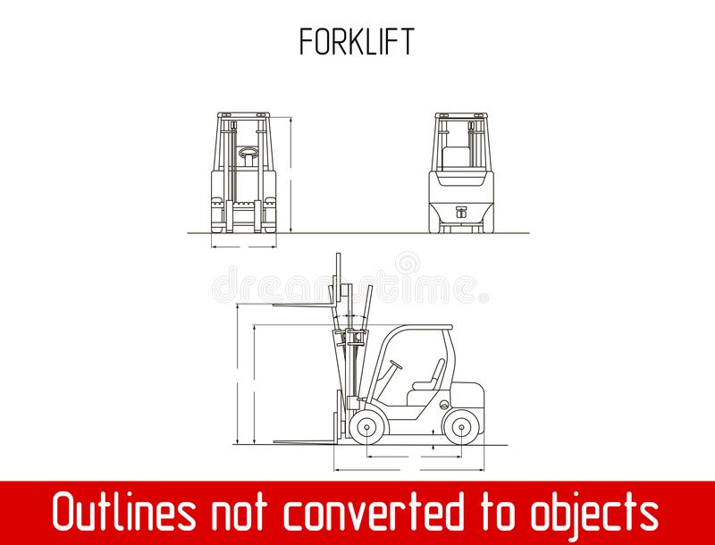 Typical forklift overall dimensions outline blueprint template stock download typical forklift overall dimensions outline blueprint template stock vector illustration of lift delivery malvernweather Gallery