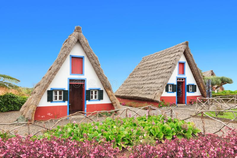 Typical A-frame houses of Madeira stock photos