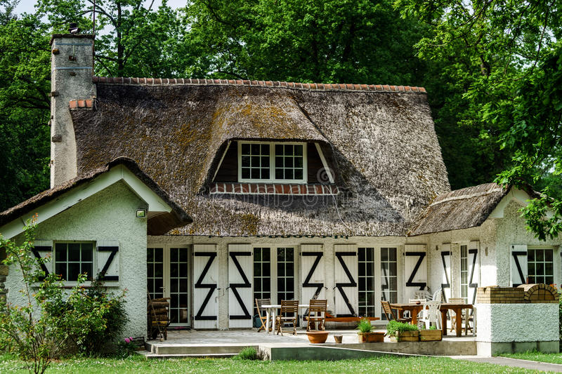 Download Typical French Countryside House With Thatch Roof Stock Image