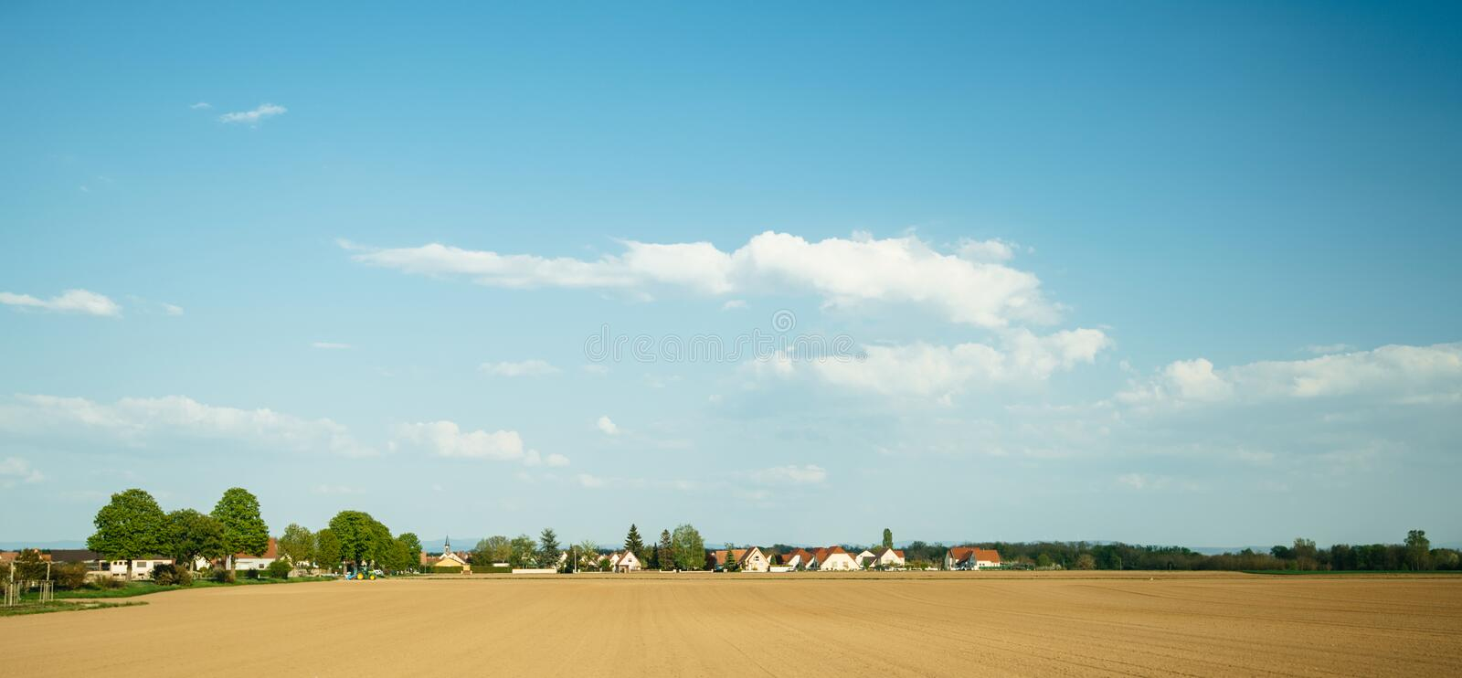 Typical French village with multiple houses, royalty free stock photos