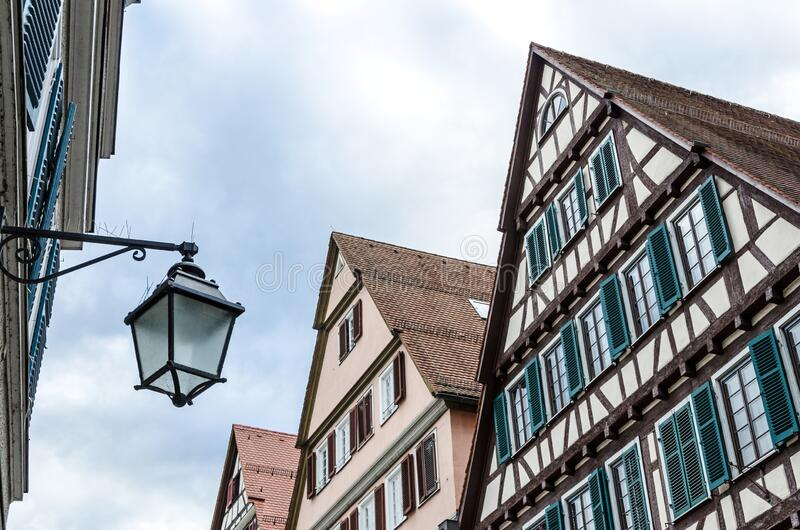 Typical German medieval architecture in Tübingen in Southern Germany. Typical German Swabian medieval architecture in Tübingen in Southern Germany stock image
