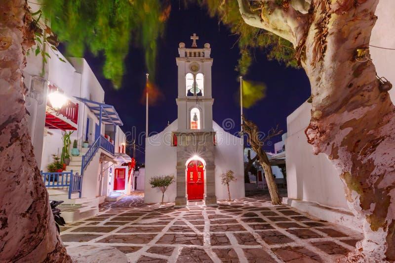 Greek Church on island Mykonos, Greece stock images