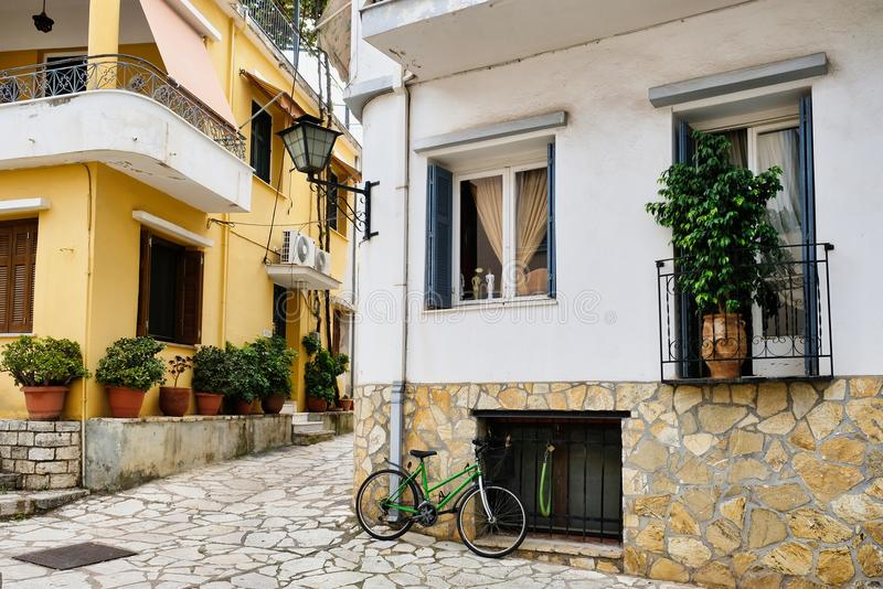 Typical Greek Houses, Nafpaktos, Greece. Typical Greek housing, closely built with several levels and balconies and verandas, these ones in Nafpaktos, Greece royalty free stock image