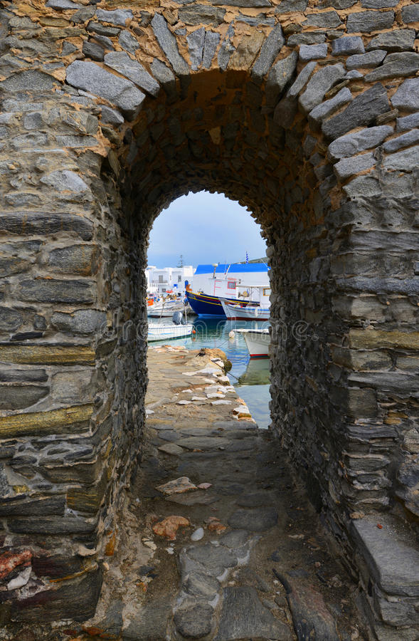 Typical Greek islands' village of Naousa, Paros island, Cyclades, royalty free stock image