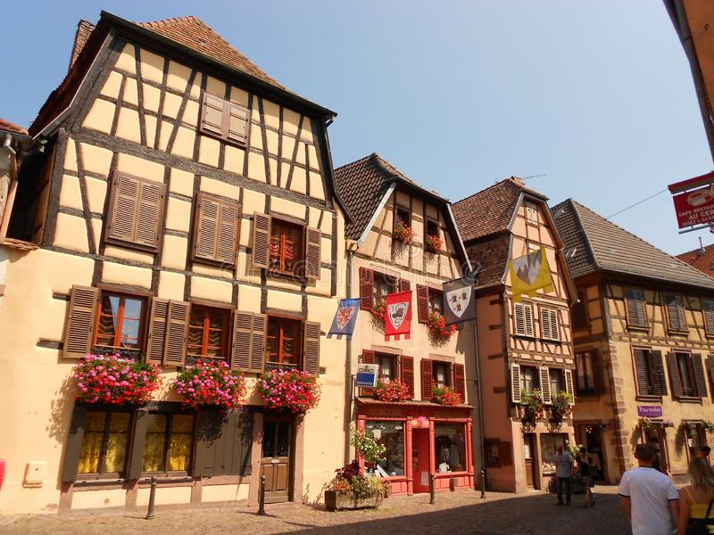 Typical half-timbered buildings in Ribeauvillé, Alsace stock images