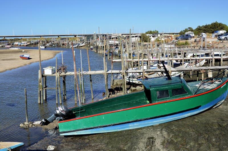 Typical harbor in river Tejo stock photos
