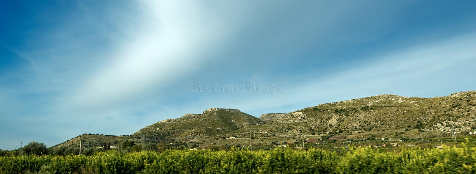 Typical Hills of the Sicily near Siracusa Italy. Typical hills of Sicily island near Syracuse Siracusa, Italy, Europe royalty free stock image