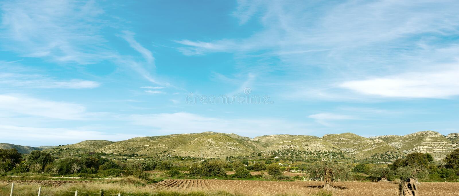 Typical Hills of the Sicily near Siracusa Italy. Typical hills of Sicily island near Syracuse Siracusa, Italy, Europe royalty free stock photos