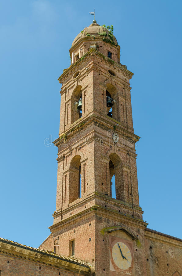 Download Typical Historic Italian Church Tower With Bells And Clock In Siena, Italy, Europe Stock Photo - Image: 83704096