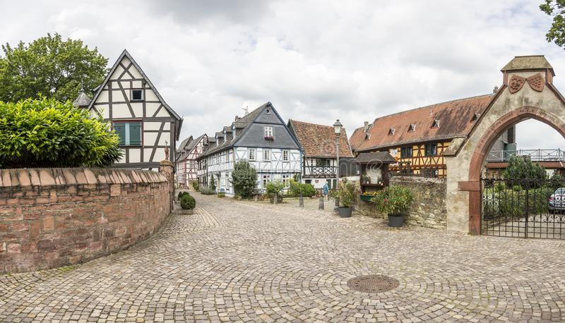 Typical historic street scenery in medieval German village royalty free stock photo