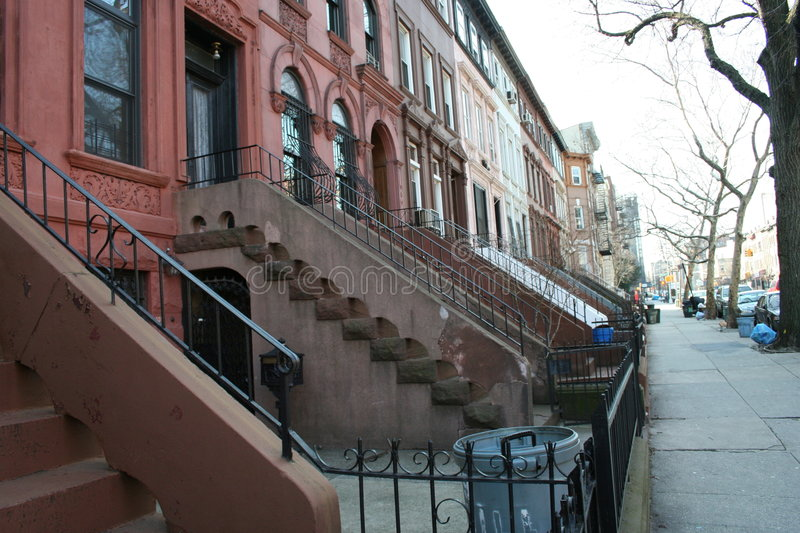 Typical homes in New York. Typical homes of Brooklyn (New York), constructed with BrownStones royalty free stock image