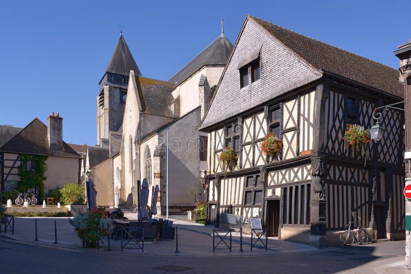 Typical house of Aubigny-sur-Nère. Typical timbered house at Aubigny-sur-Nère, a commune at the boundary of natural regions of Sologne and Pays-Fort, in royalty free stock photos