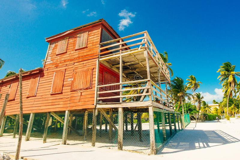 Typical red house in Belize stock images