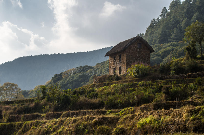 Typical. A typical house of a farmer in a village of Nepal royalty free stock photo