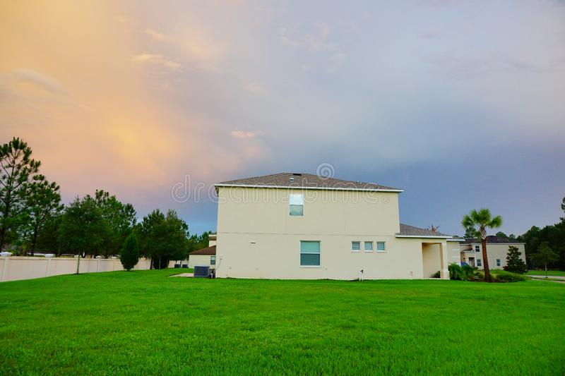A typical house in Florida. A typical house in Tampa palms Tuscany community at sun set, taken in Tampa, florida royalty free stock image