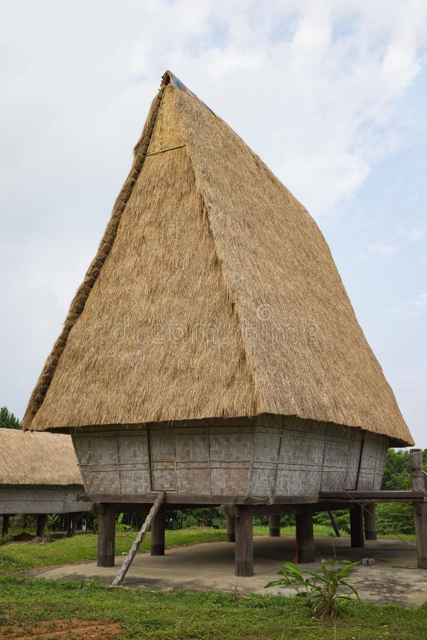 Typical house of J`rai people in central high land of Vietnam, Rong house in Vietnamese.  royalty free stock photos