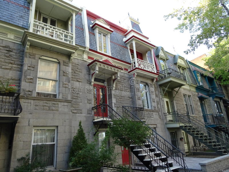 Typical House of Montreal in Canada. The particularity of the accommodation in Montreal is that the staircase is outside. Because of a law requiring 10 feet in stock photos