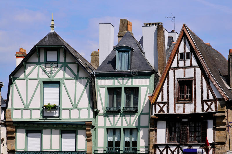 Typical houses of Auray in France stock image