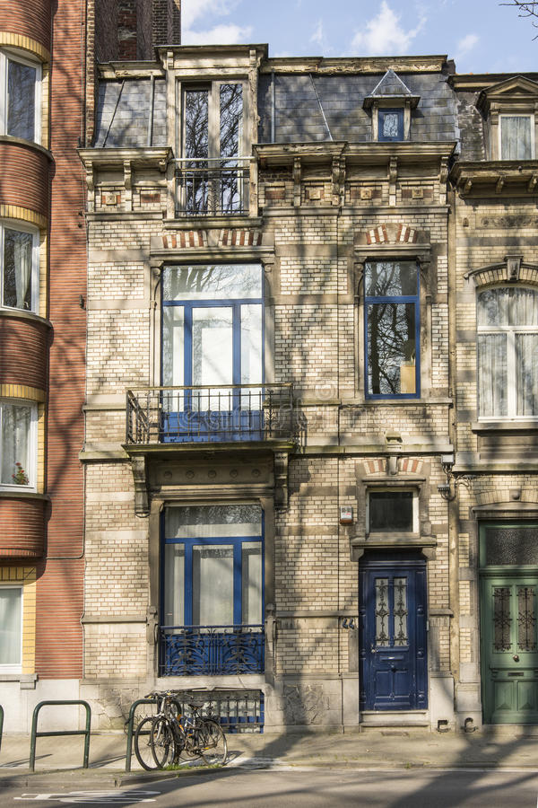 Typical houses in Brussels stock photos