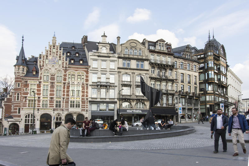 Typical houses in Brussels stock photo