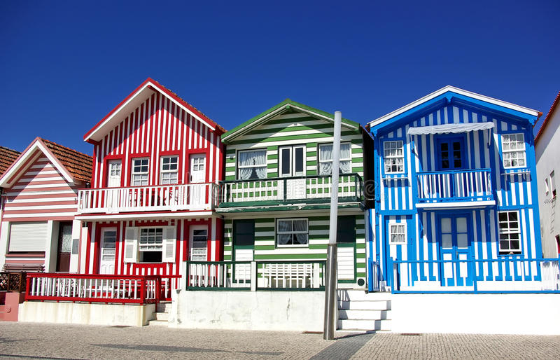 Typical houses of Costa Nova. royalty free stock photography