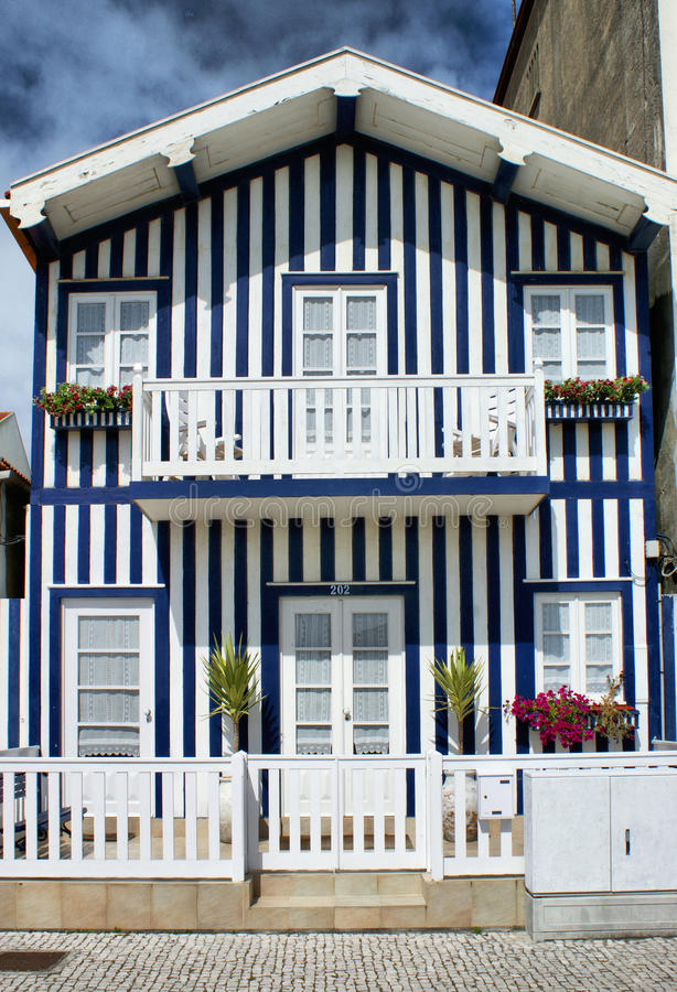 Typical houses of Costa Nova stock images