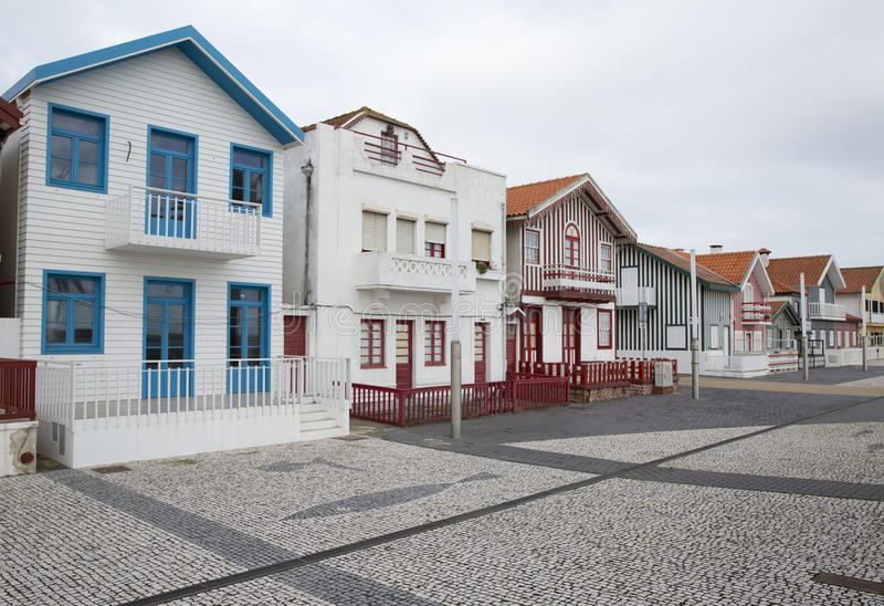 Typical houses of Costa Nova, Aveiro, Portugal. royalty free stock photos