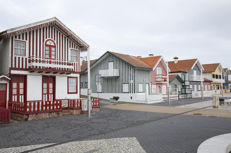 Typical houses of Costa Nova, Aveiro, Portugal. royalty free stock images