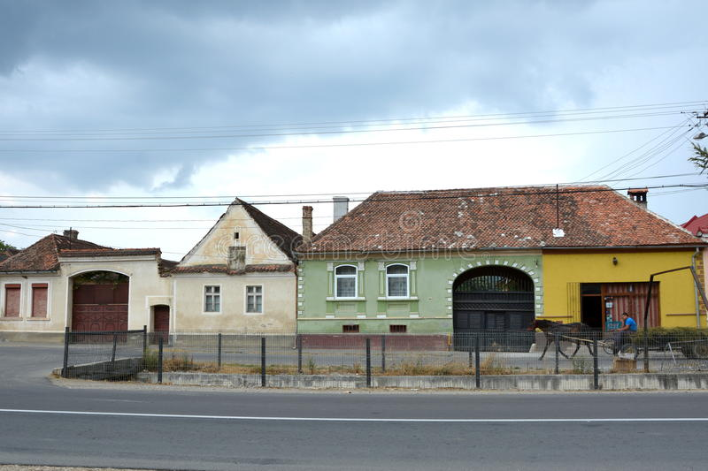 Typical houses in the village Vulcan, Transylvania stock image