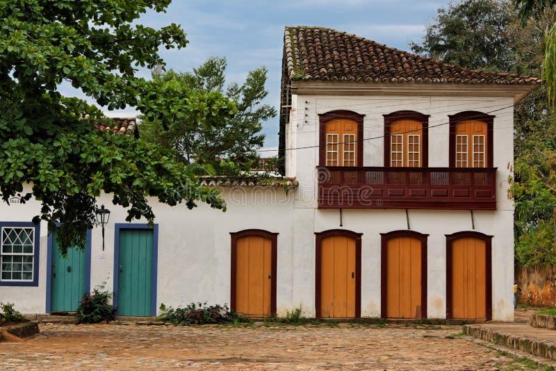 Typical Housing in Paraty Rio de Janeiro Brazil. The facade of the typical historical portuguese style housing in downtown of the city of Paraty, Rio de Janeiro royalty free stock image