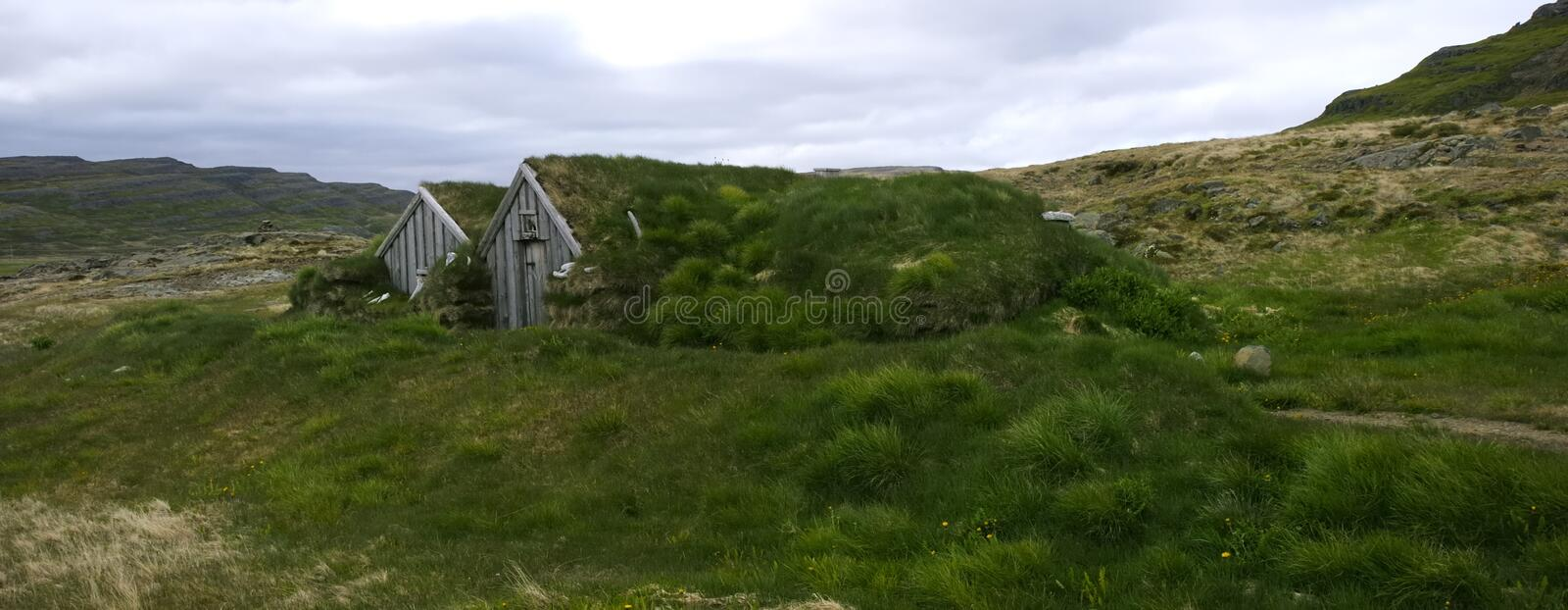 Typical Icelandic Cottage, Sod House. The so called Sorcerer's Cottage is an ancient place and part of the museum in Holmavik, Western Fjords, Iceland royalty free stock photography