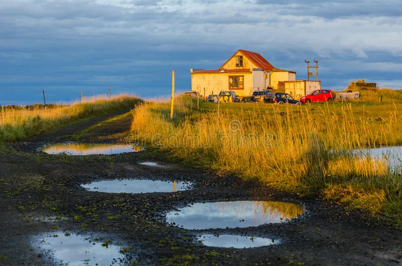 Iceland, autumn, sunrise, old farm, Typical icelandic landscape. Typical icelandic landscape Iceland autumn old farm royalty free stock photography