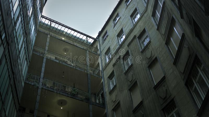 typical courtyard at one of the classical residential building at Budapest, Hungary stock photo
