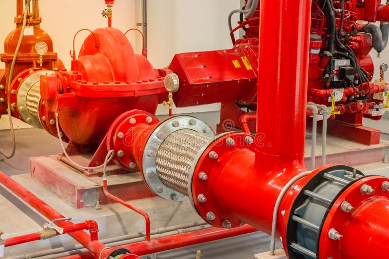 Typical installation of fire pump room with approved pump nd valve connect to pipe with stainless flexible pipe. Typical installation of fire pump room with royalty free stock images