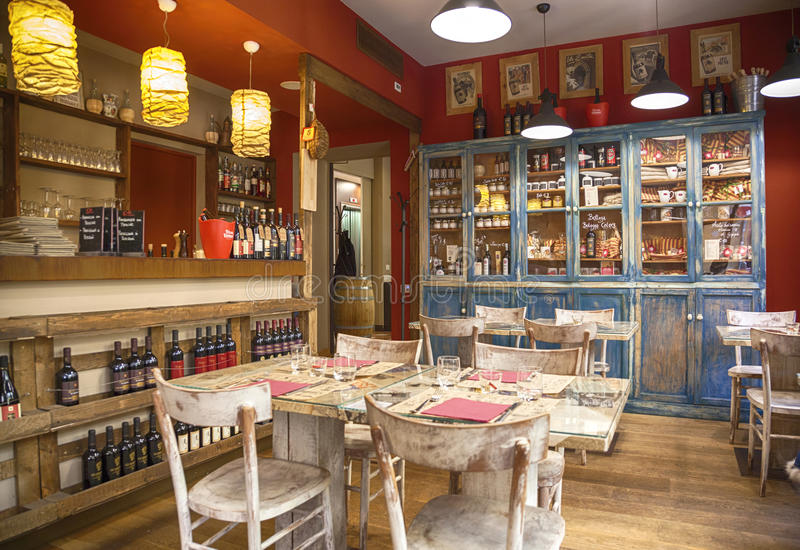 Typical italian restaurant bologna editorial stock image