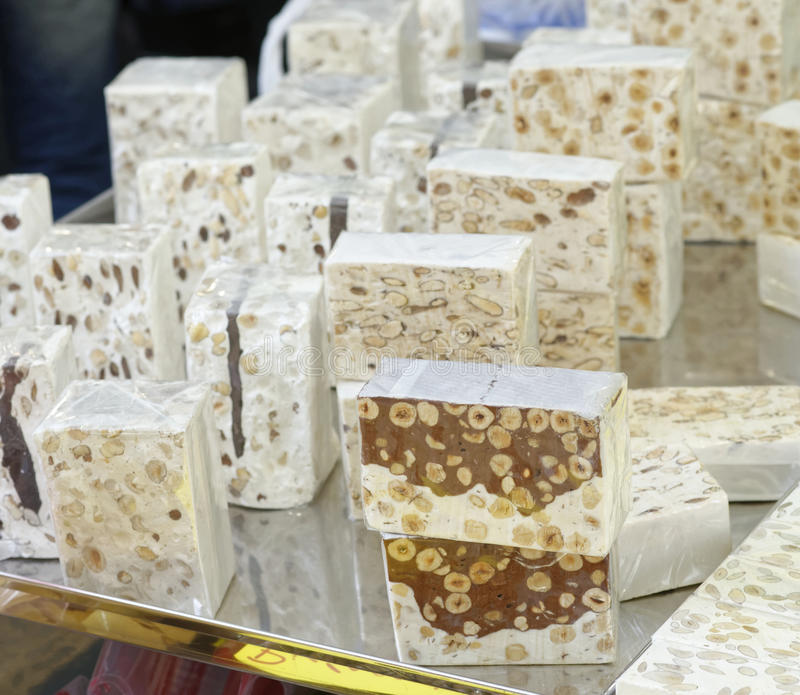 Typical italian sweet called torrone stock photo