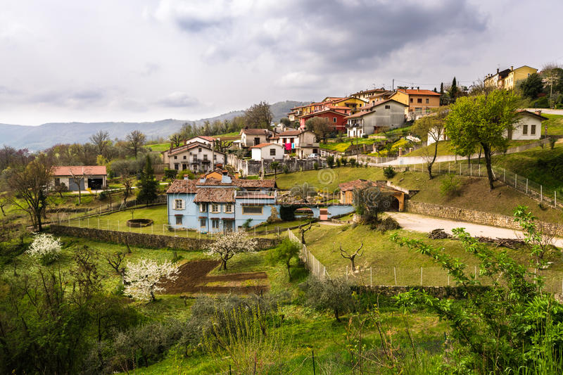 Typical Italian village on the hill. royalty free stock photos