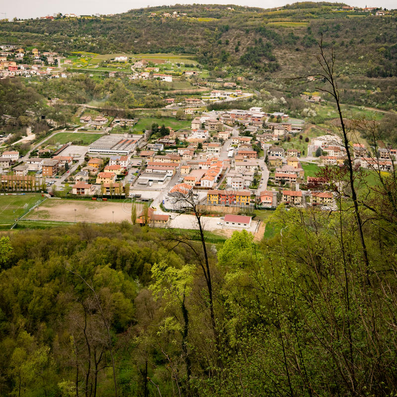 Typical Italian village on the hill. royalty free stock photography