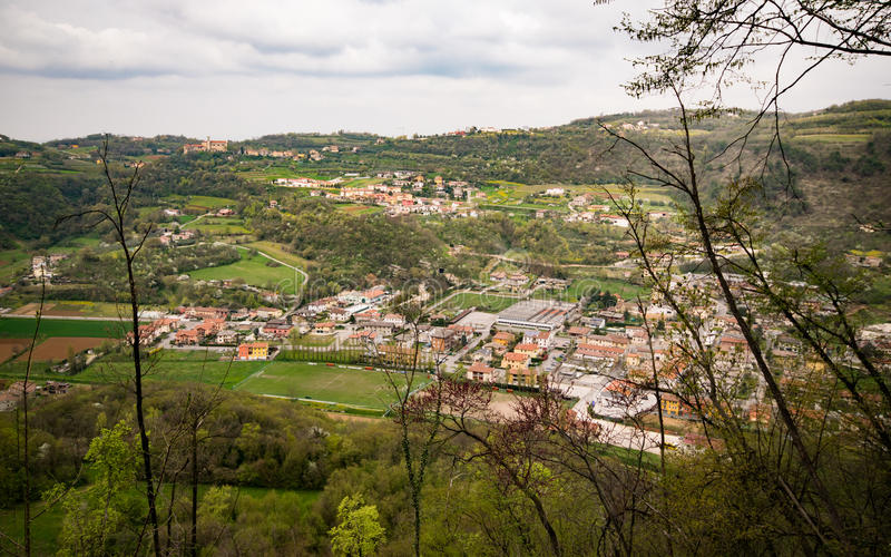 Typical Italian village on the hill. stock photography