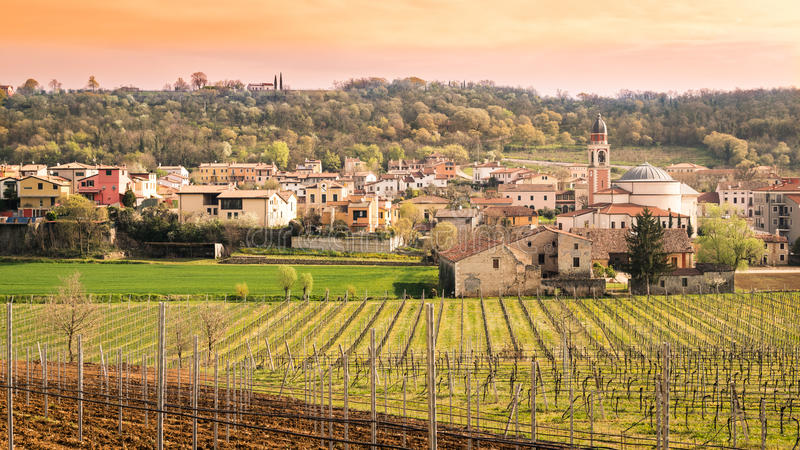 Typical Italian village on the hill. stock image