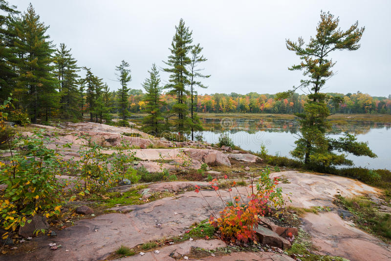 Typical Killarney landscape with multicoloured trees and pink rocks. Typical Canadian landscape of a lake at Killarney Provincial Park with multicoloured fall stock photo