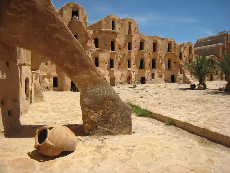 Berber fortified granary. Ksar Ouled Soltane. Tunisia. A typical Ksar (berber fortified granary). These ksour were used by the semi-nomadic families to keep stock image