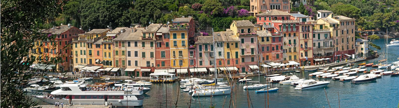 Typical Ligurian houses in the bay of Portofino royalty free stock images