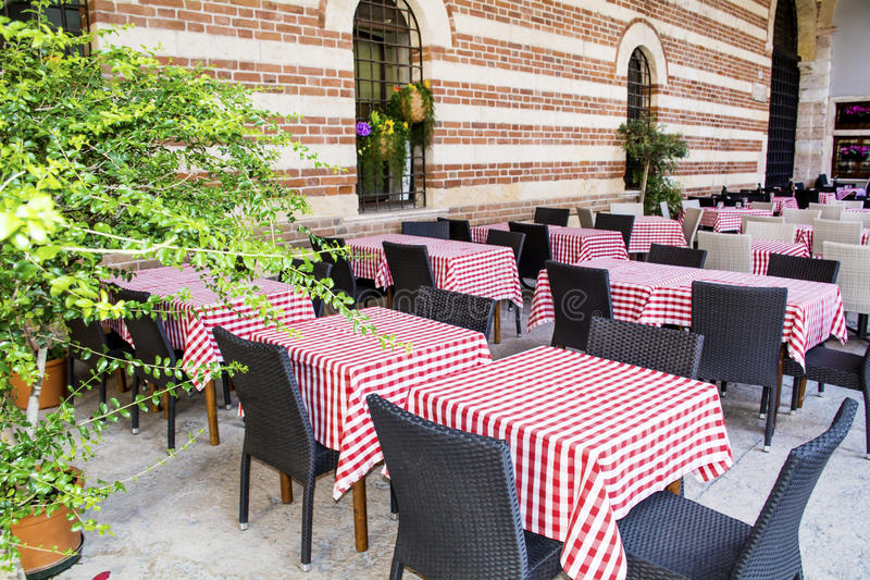 Download Typical Little Italian Restaurant With Empty Tables Stock Photo    Image: 56941654