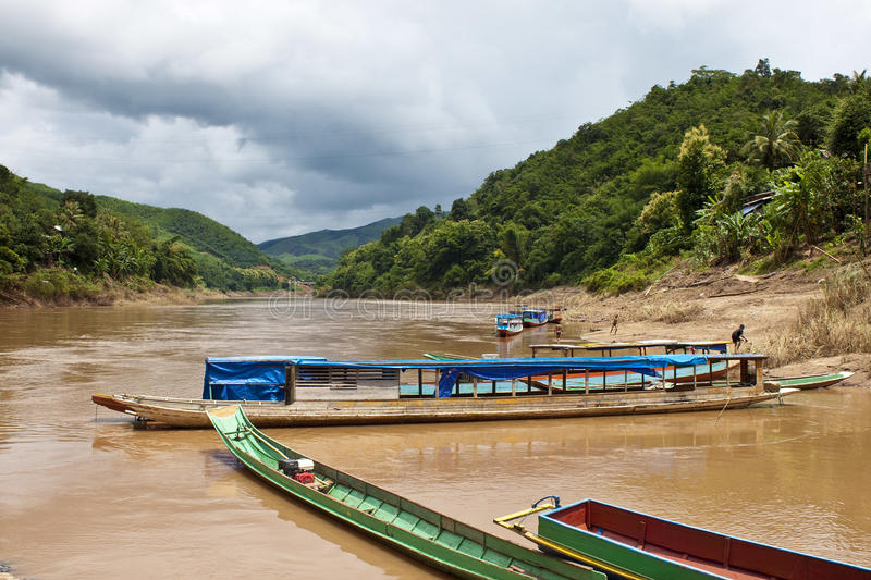 Download Typical long boats stock image. Image of asian, landscape - 31611727