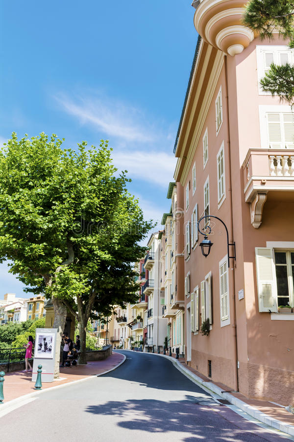 Typical main street in old town in Monaco in a sunny day. Typical main street with antique buildings in Monaco,France royalty free stock photo