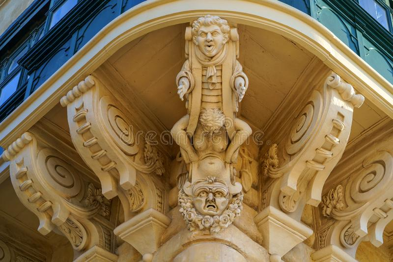 Typical Maltese covered balconies in Valetta, Malta royalty free stock image