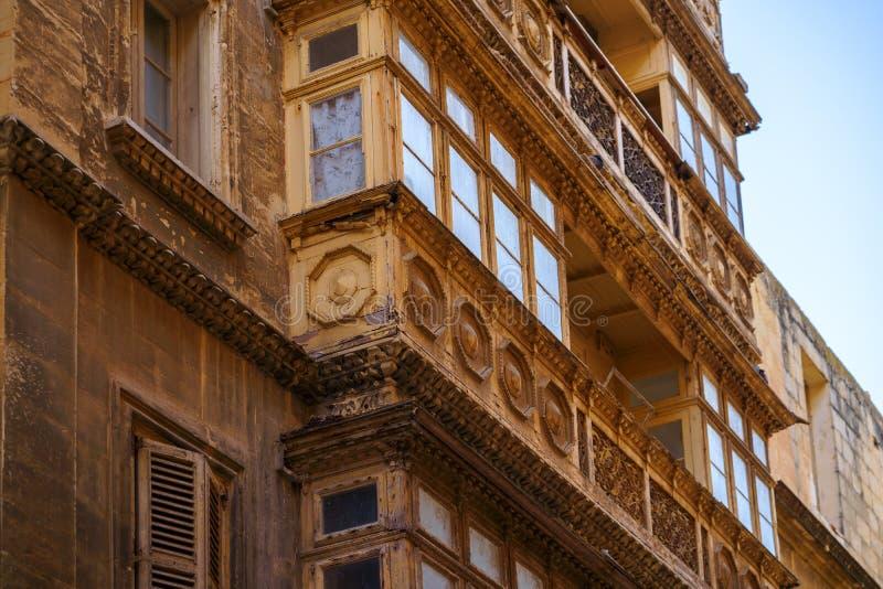 Typical Maltese covered balconies in Valetta, Malta stock photo