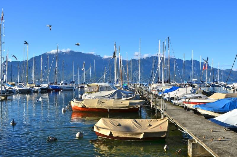 Typical maritime terminal at Geneva lake, Switzerland royalty free stock photos