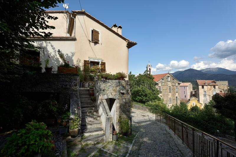 Corte Old Town, Rue Balthazar Arrighi, Corse, France royalty free stock photos